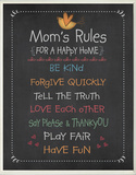Mom's Rules Chalkboard Look Wood Sign