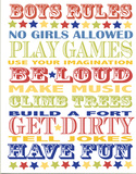 Boys Rules Wood Sign
