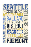 Seattle, Washington - Neighborhoods Typography Print by  Lantern Press