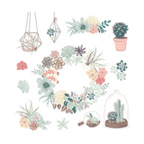 Wedding Graphic Set with Succulents, Wreath and Glass Terrariums Prints by Alisa Foytik