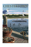 Chestertown, Maryland - Blue Crab and Oysters on Dock Posters by  Lantern Press