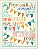 Playroom Rules with Pennants - Blue Wood Sign