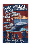 Blue Whale Watching - Vintage Sign Poster by  Lantern Press