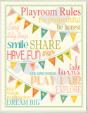 Playroom Rules with Pennants - Pink Wood Sign