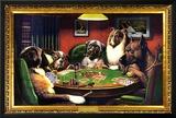 Perros jugando al póquer Lámina
