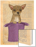 Chihuahua in Top Hat Wood Print by  Fab Funky
