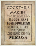 Vintage Cocktails Menu Wood Sign