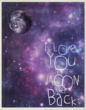 I Love You to the Moon and Back Celestial Wood Sign