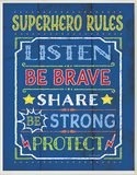 Superhero Rules Wood Sign