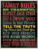 Family Rules Chalkboard Look Wood Sign