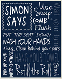 Simon Says Bathroom Rules Wood Sign