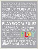 Playroom Rules - Grey Wood Sign