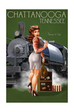 Chattanooga, Tennessee - Locomotive Pinup Girl Poster by  Lantern Press