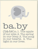 Definition of Baby - Grey Elephant Wood Sign