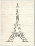 Typography Eiffel Tower Wood Sign