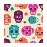 Colorful Skull Cute Pattern, Mexican Day of the Dead Posters af Marish