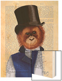 Orangutan in Top Hat Wood Print by  Fab Funky