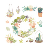 Wedding Graphic Set with Succulents, Wreath and Glass Terrariums Posters by Alisa Foytik