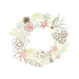 Floral Frame. Cute Succulents Arranged Un a Shape of the Wreath Perfect for Wedding Invitations And Prints by Alisa Foytik
