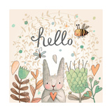 Stunning Card with Cute Rabbit, Butterfly and Bee in Summer Flowers. Awesome Background Made in Wat Prints by  smilewithjul
