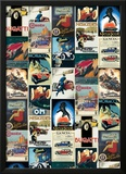 Vintage Cars - Vintage Style Italian Poster Collage Print