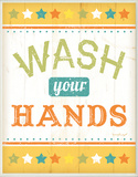 Wash Your Hands Colorful Wood Sign