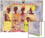 We are African People Wood Print by Varnette Honeywood