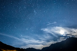 Night Sky Stars and Moon across Mountain Photographic Print by gianni triggiani