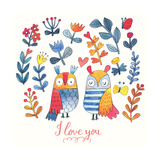 I Love You. Lovely Vector Card with Sweet Owls, Butterfly and Flowers in Awesome Colors. Stunning R Posters by  smilewithjul