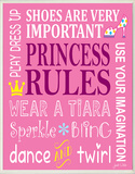 Princess Rules Wood Sign
