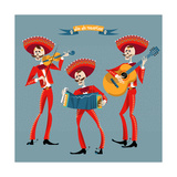 Dia De Muertos. Mariachi Band of Skeletons. Mexican Tradition. Art by  NGvozdeva