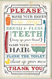 Wash Your Hands Typography Wood Sign