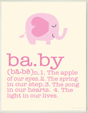 Definition of Baby - Pink Elephant Wood Sign