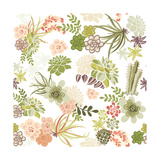 Succulent Plants Seamless Pattern Background Posters by Alisa Foytik