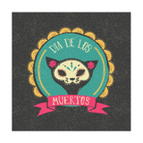 Print - Mexican Sugar Skull, Day of the Dead Poster Poster af Marish