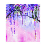 Spring Purple Flowers Wisteria Watercolor Painting Prints by  Nongkran_ch