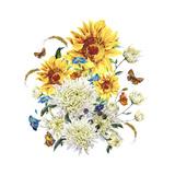 Watercolor Vintage Card with Chrysanthemums, Sunflowers and Butt Art by Varvara Kurakina