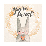 Marvelous Card with Sweet Rabbit Holding Heart. Awesome Background Made in Watercolor Technique. Pa Posters by  smilewithjul