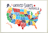 USA Rainbow Typography Map Wood Sign