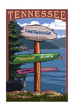 Chattanooga, Tennessee - Destination Signpost Prints by  Lantern Press