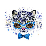 White Leopard T-Shirt Graphics. Cool Leopard Illustration with Splash Watercolor Textured Backgrou Posters by Dabrynina Alena