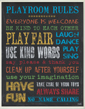 Playroom Rules - Rainbow Wood Sign