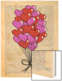 Valentine Heart Balloon Illustration Wood Print by  Fab Funky