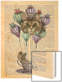 Cheshire Cat Hot Air Balloon Wood Print by  Fab Funky