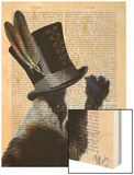 Steampunk Badger in Top Hat Wood Print by  Fab Funky