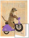 Meerkat on Lilac Moped Wood Print by  Fab Funky