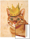 Ginger Cat with Crown Portrait Wood Print by  Fab Funky