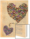 Two Butterfly Hearts Wood Print by  Fab Funky