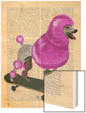 Pink Poodle and Skateboard Wood Print by  Fab Funky