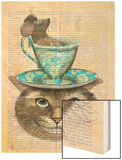 Cheshire Cat with Cup on Head Wood Print by  Fab Funky